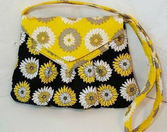 Black yellow grey shoulder bag - Tote bag - Handmade bag - Flower bag - Yellow bag - Black shoulder bag - Tote handbag - Shoulder bag