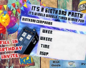 Doctor Who Tardis Fill In Invite Birthday Invitation!