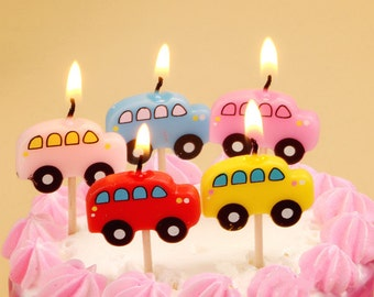 Cute Bus Candles 5pcs|Transportation driver theme party|Prince boy 1st first birthday|Baby shower decor|Travel transit passenger|Limousine
