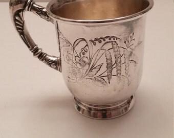 Silver Plate Floral Pattern Mug