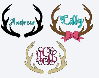 Personalized Antlers Decal