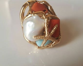 Baroque pearl and coral ring