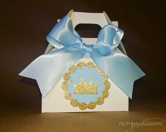 Royal Baby Shower Treat Boxes Crown Baby Shower Gold And Blue Baby Boy  Prince Baby Shower