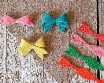 Kleine Leder-Bogen-Set von 10 / / Band Bogenform für handgemachte / / DIY Fliege, Schleifen für Handwerk, Bögen Verschönerung, Bögen Applikationen