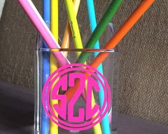 Monogrammed Acrylic Pencil Cup {The Organized House}