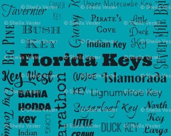 Florida Keys fabric - fat quarter - FQ - turquoise, light blue, light green, or coral