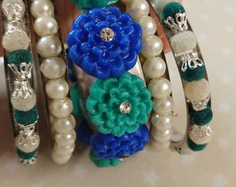 Handmade Air dry clay bangles in blue and turquoise mix for women, flower pagan jewellery for wicca. Pearl and beaded bangles made to order.