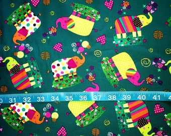 Vibrant Elephant Fabric-By-The-Yard