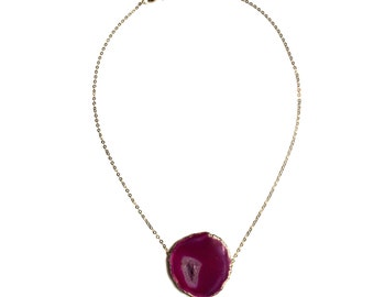 Necklace hot pink agate
