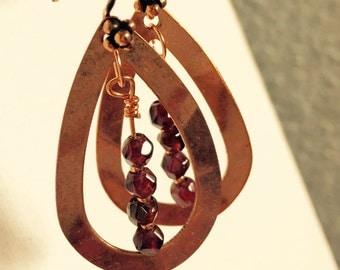 Garnet and Copper Earrings