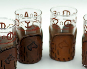 Set of 4 Vintage Libbey Western Highball glasses - BAMCO Longhorn Rodeo Leather