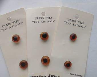 1 Pair German Teddy Bear / Animal Brown Glass Button Eyes with Black Pupils Carded ~ Various Sizes ~  NEW VINTAGE JHB