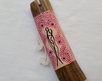 Jewelry bag. Jewelry bag Driftwood painted. gift of love or commitment. Mini totem in driftwood, Aboriginal art Style.