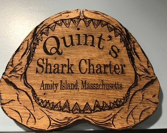 "Jaws Inspired ""Quint's Shark Charter"" Sign"