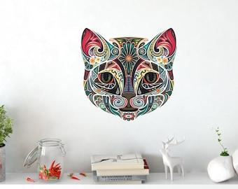 Cat Bohemian boho Indian mandala wall tattoo wall jewelry wall decals wall sticker wall picture