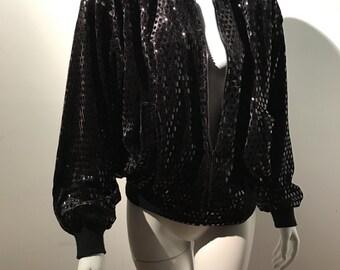 George Micheal's Model L Disco Black Sequin Velvet Bomber Jacket Coat 80's