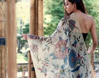 Hand Painted Kalamkari On Silk Linen Scarf From India