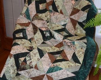 Batik Lap quilt, Throw Quilt, Green & Brown Quilt, Geometrical