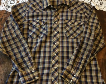 Vintage Saturdays in California men's plaid western shirt M/L