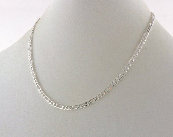 """925 Sterling Silver 24"""" 4mm Figaro Chain Necklace"""