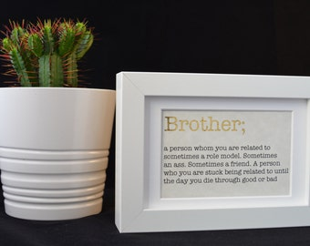 Urban Dictionary Wall Art / Brother Definition / Dictionary Art / Funny Definition / Word Art