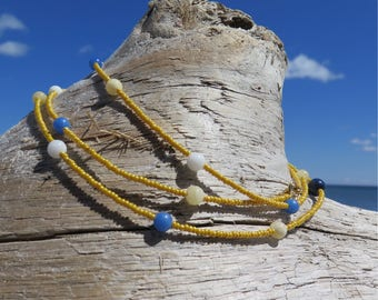 Summer Yellow and Blue Jade double strand necklace