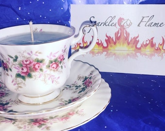 Tea cup Candle, Candle in a Teacup, Scented Candle, Cup Candle, Bespoke Candle, Vintage China Candle, Home Gift, Vintage Recycled Candle