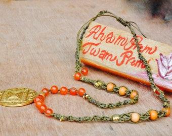 Root Chaka healing Garnet and Sandal wood Necklace (free shipping)