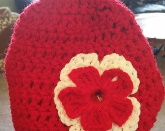Red Infant Beanie with Flower
