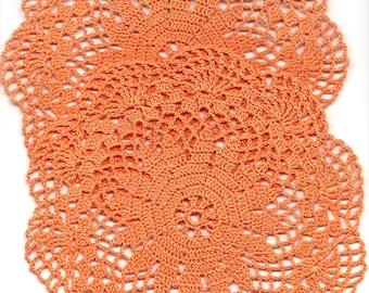 Crochet Doilies, Orange Doilies, Cotton Doily, Round Doily, Crocheted Centrepiece, Lace Doilies, Home Decor, Wedding Decoration, Bohemian