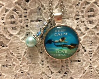 Keep Calm and Love Mermaids Charm Necklace/Mermaid Jewelry/Mermaid Necklace/Mermaid Pendant/I Love Mermaids Jewelry/I Love Mermaids Necklace