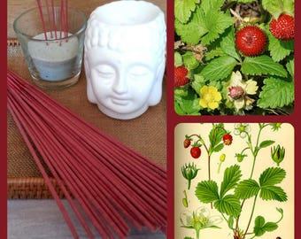 Incense scent wild strawberry in stick to natural essential oils - cover of 20 sticks