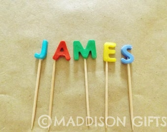 Personalised Cake Topper Embellishments Name Sign Picks Party Decorations Craft Supplies
