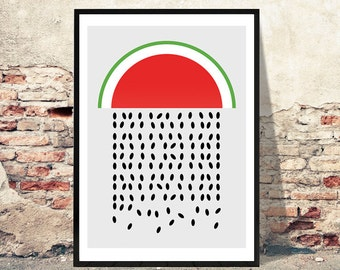 Watermelon Rain Printable Art Poster - Download Digital Print of an Amazingly Simple Water Melon Poster