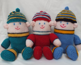 Hand Knitted Humpty Dumpty, Blue, Red and Turquoise Humpty Dumpties, Stuffed Soft Toys and Dolls,