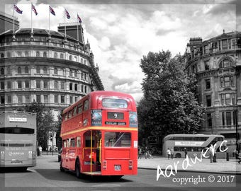 London Double Decker Bus,  Black And White + Red Canvas Print - 100 x 75 x 2cm