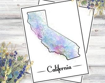 CALIFORNIA Watercolor MAP Digital Print INSTANT Download