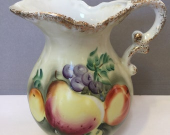 Pitcher Painted Fruit Vintage