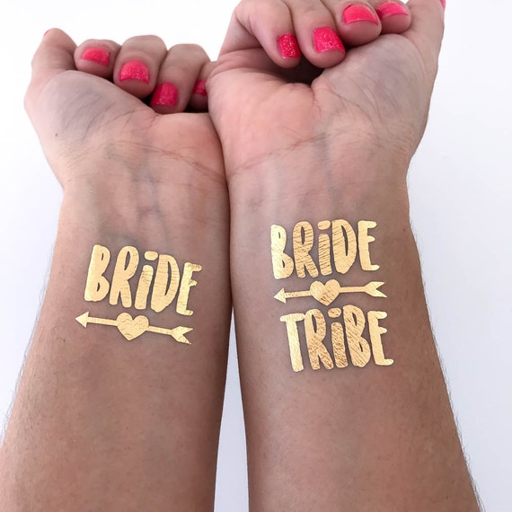 Bride tribe tattoos bachelorette party tattoo metallic for Bachelorette party tattoos