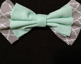 Mint Green and Gray Lattice Hairbow