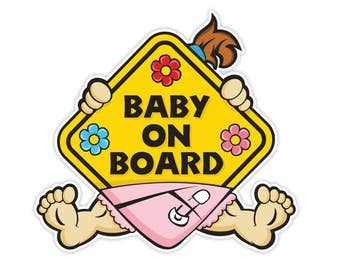 2x Baby on Board Girl  Vinyl Car Sticker Decal