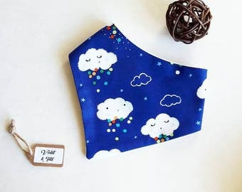 Dribble Bib, Baby Bib, Baby Bandana Bib, Toddler Bib, Cloud Print, Blue Bib, Girls Bib, Boys Bib