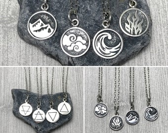 Elemental Charm Necklace with Earth, Air, Water or Fire charm/sterling silver jewelry/modern necklace/ minimal jewelry/chain necklace