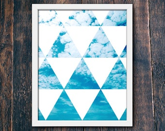Tropical Beach Wall Art Print, Modern Sky Print, Contemporary Modern Decor PRINTABLE, Geometric Beach Art, Modern Tropical Photo (#16196)