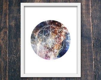 Wall Art Print, Geometric Star PRINTABLE, Circle Modern Print, Instant Download, Milky Way Wall Art, Modern Poster, Stars Wall Art (#16199)