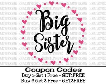 Big Sister Svg Big Sis Svg Cut files Sibling Svg PNG File svg files for Cricut svg files for Silhouette Cameo Big Little Instant Download