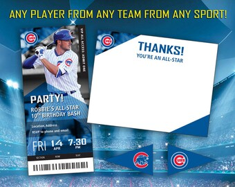 Custom MLB Baseball Birthday Party Invitation Ticket Party Package (Invite/Thank You Cards)