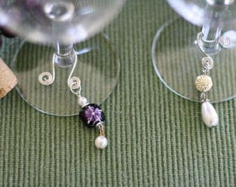 Wine Glass Beaded Tags