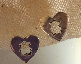 Silver heart shaped earrings