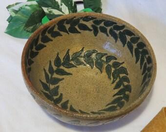 Clay Bowl with Leaf Design, Handmade